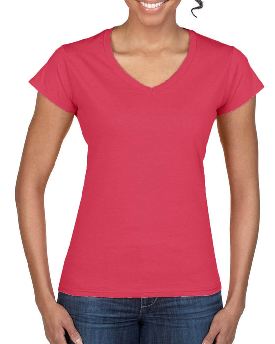 Hot Pink-Laviva-Ladies V-Neck T-shirt-Aviva-Atlanta