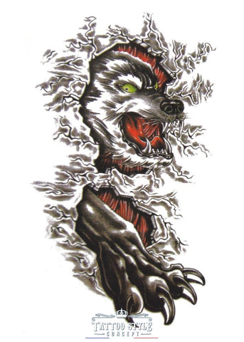 Tatouage 3D - Loup Agressif Griffe Chair Atypique