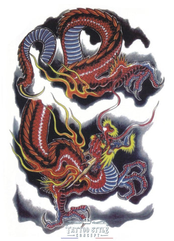 Tatouage Asiatique - Dragon Céleste Artistique Asian