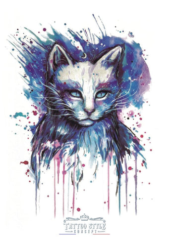 Tatouage De Chat En Aquarelle Animaux