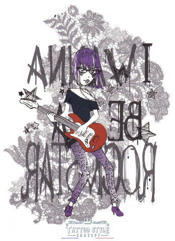 Tatouage Dessin Simple De Femme En Violet - I Wanna Be A Rockstar