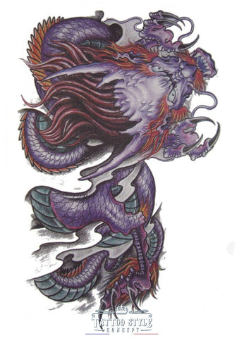 Tatouage Dragon Ancien Violet Mort-Vivant Au Crayon Asian