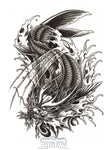 Tatouage Dragon Koï Deau Animaux