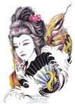 Tatouage Geisha Et Serpent Au Crayon Asian