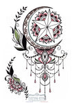 Tatouage Glamour Oriental - Ornement Lune Et Roses Lovely