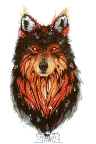 Tatouage Loup Illusion De Flamme Animaux