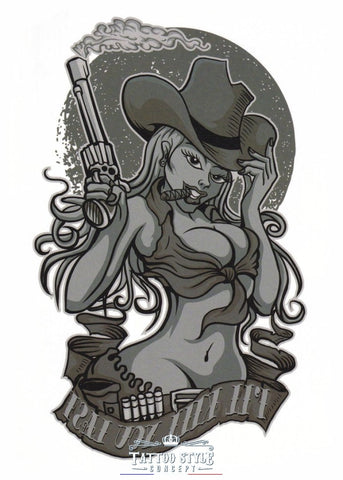 Tatouage Pin Up Cow Girl - Ill Kill You Last Femme
