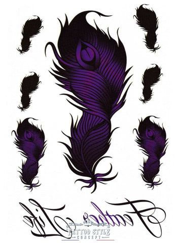 Tatouage Plume Violette - Feather Life Motifs Stylés