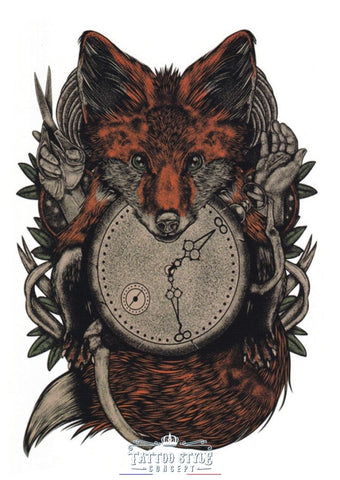 Tatouage Renard Old School - Horloge Du Temps Animaux