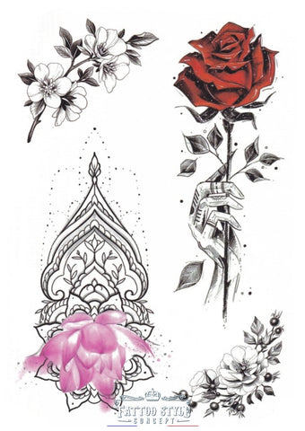 Tatouage Roses - Ornement Raffiné Lovely
