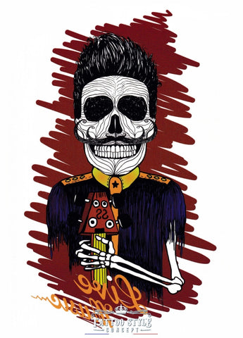 Tatouage Squelette Guitariste - Live Music Skull