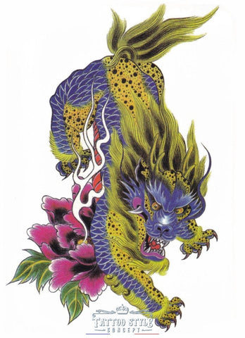 Tatouage Tigre Dragon Mythologique Asian
