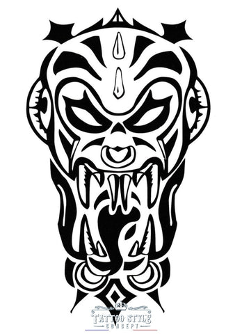 Tatouage Tribal - Face De Guerrier Orc