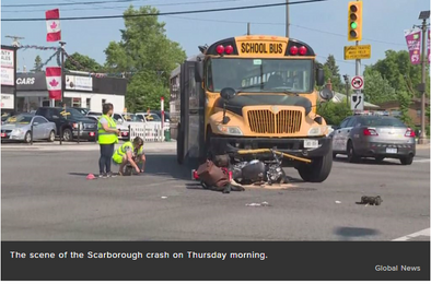 Motorcycle, school bus collide in Scarborough: police