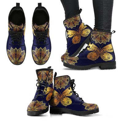 Glowing Butterfly Mandala Women's Leather Boots