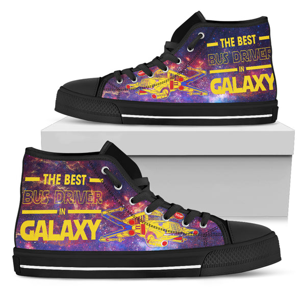 The Best Bus Driver In Galaxy Women's High Top Canvas Shoes