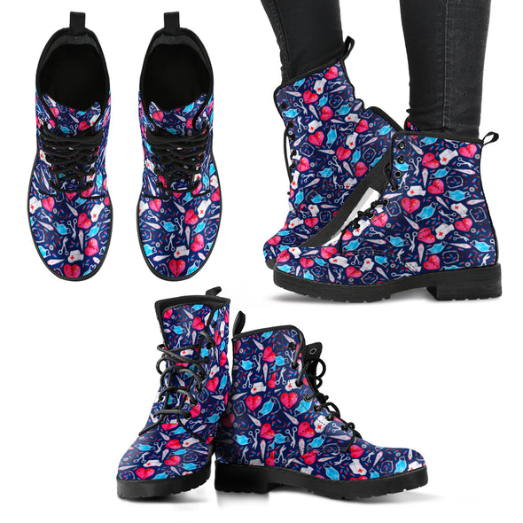 Nurse Pink Heart Women's Boots