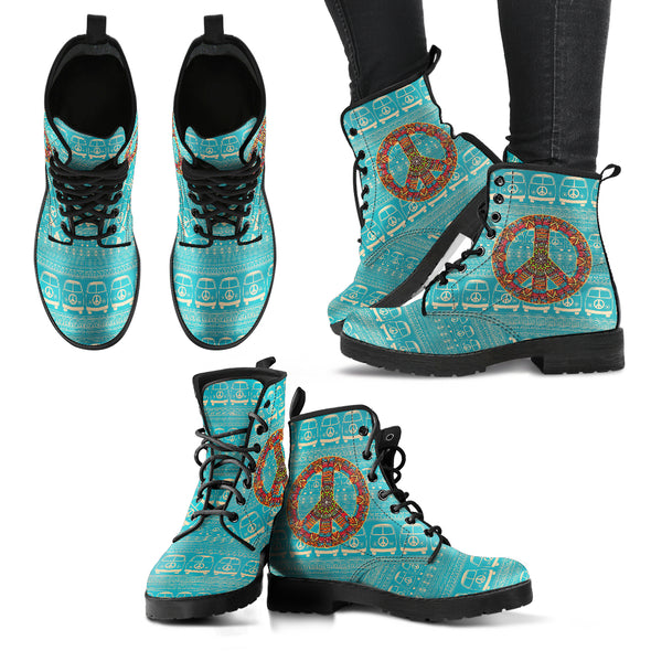 Peace Hippie Bus Handcrafted Boots