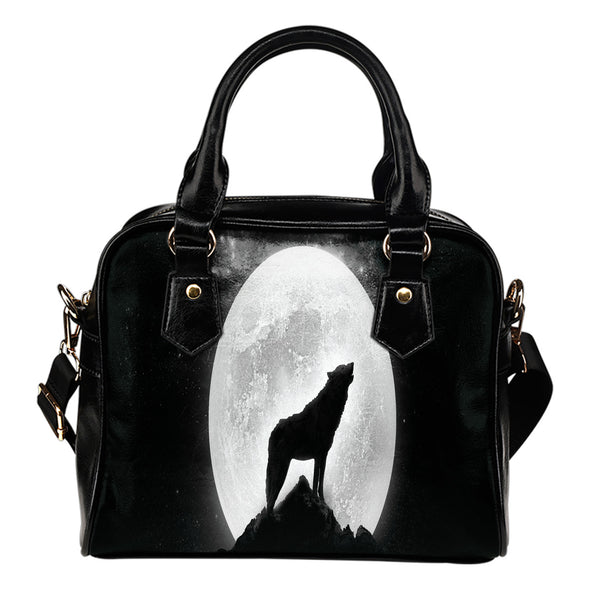 Wolf Howl Leather Shoulder Bag