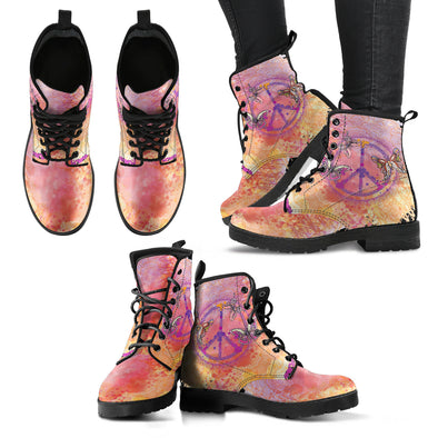 Peace Butterfly Women's Leather Boots