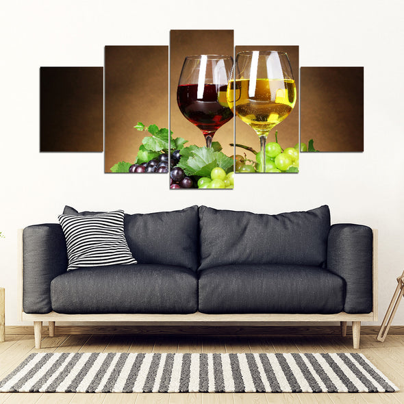 Wine For Two Framed Wall Art Canvas Wine Glasses Wine Art - 5 Piece Framed Canvas