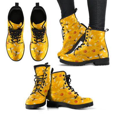 Bee Pattern Leather Boots