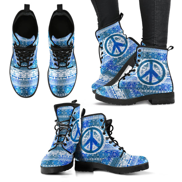 Bus and Hippie Peace Women's Leather Boots