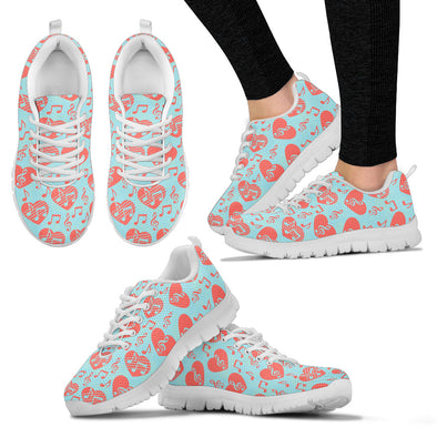 Women's Sneakers Heart Music Notes