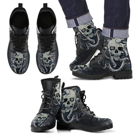Skull & Octopus Handcrafted Boots