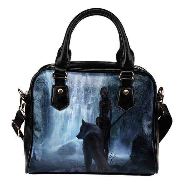White Wolf Fantasy Leather Shoulder Bag