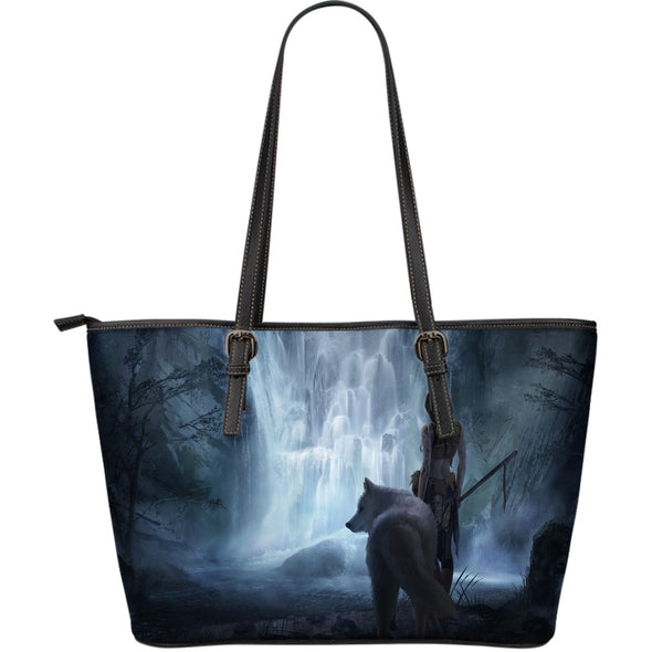 White Wolf Fantasy Large Leather Tote