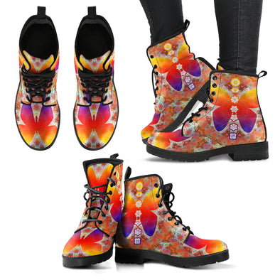 Colorful Butterfly and Chakra Women's Leather Boots