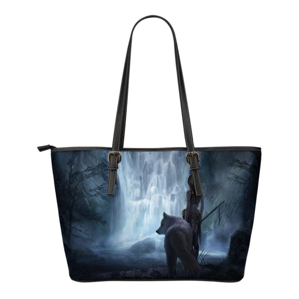White Wolf Fantasy Small Leather Tote
