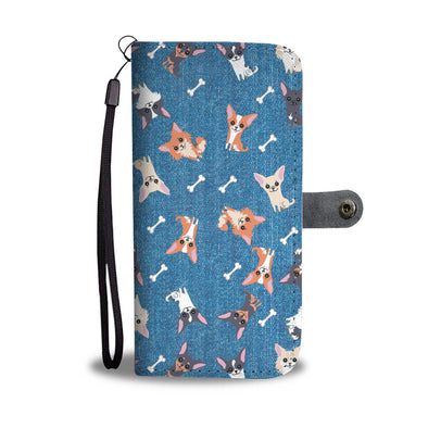 Chihuahua Pattern Wallet Phone Case