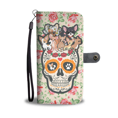 Skull Chihuahuas Lover Wallet Phone Case