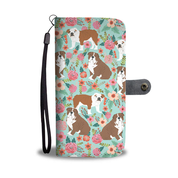 English Bulldog Florals Wallet Phone Case