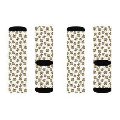 School bus pattern sublimation socks