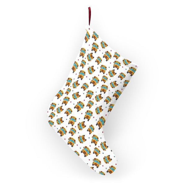 School Bus Pattern Christmas Stockings