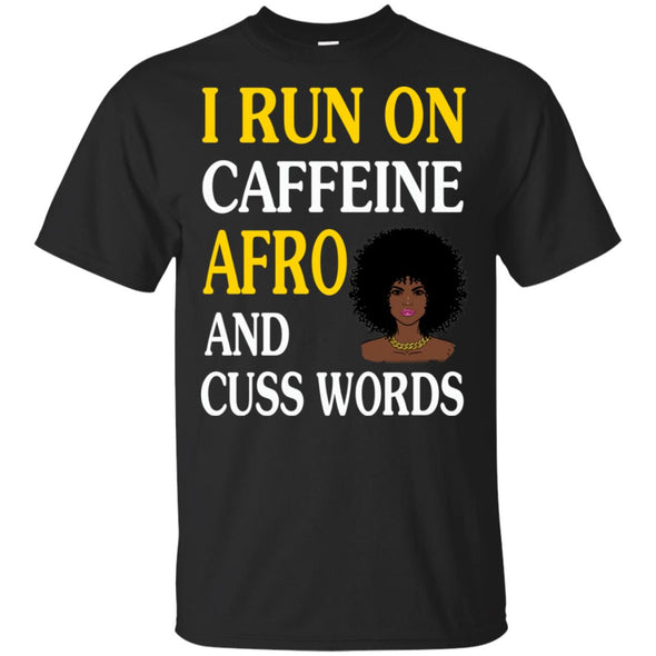School Bus Driver Shirt |Gift |Driver Appreciation |Back To School Gift|Yellow School Bus |Bus Driver Christmas |Short-Sleeve Unisex T-Shirt i run on caffeine afro and cuss words