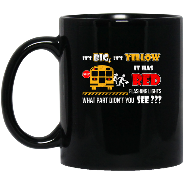 BUS RED YELLOW Black Mug