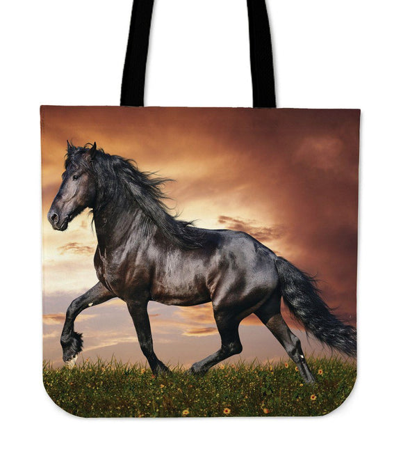 Bags - Black Horse In Sunset - Tote Bags