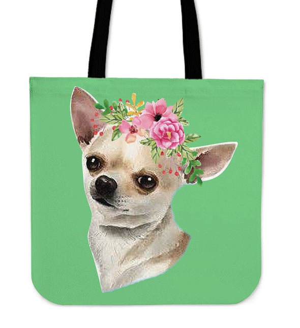 Bags - Chihuahua Flower Totebags