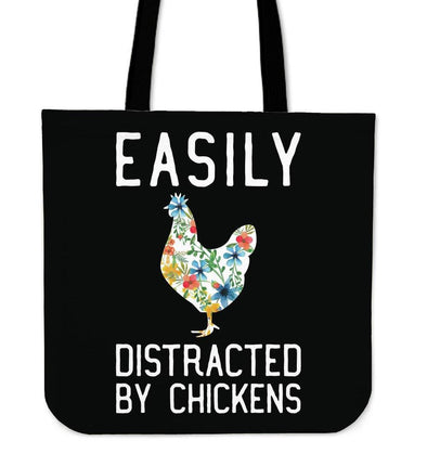 Bags - Easily Distracted By Chickens - Tote Bags