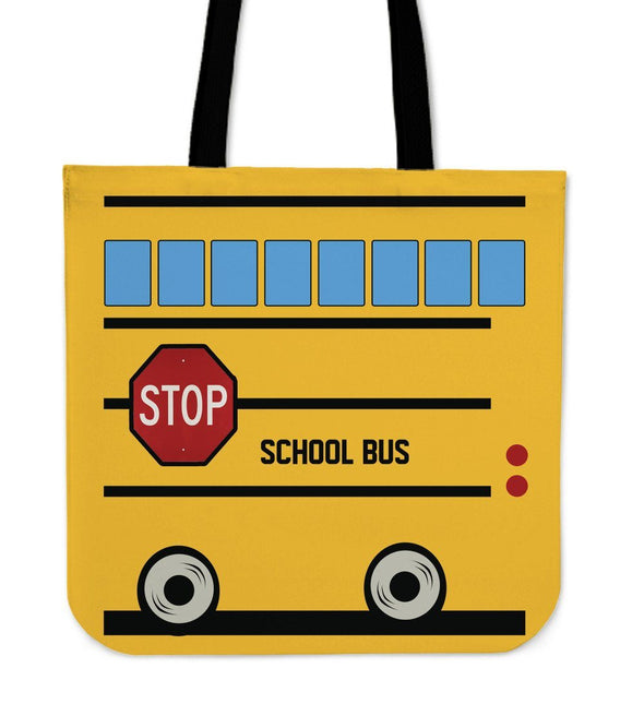 Bags - School Bus Linen Tote Bag