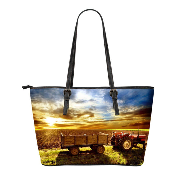 Bags - Sunset On Farm New - Small Leather Tote Bag