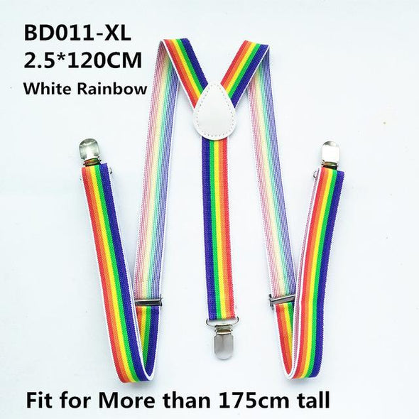 Belt - Suspenders Red White Rainbow Colorful Y-back Braces