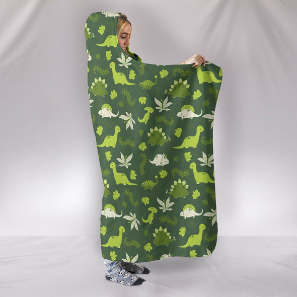 Blankets - Green Dinosaurs - Hooded Blanket