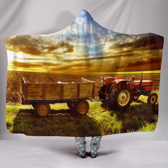 Blankets - Sunset On Farm - Hooded Blanket