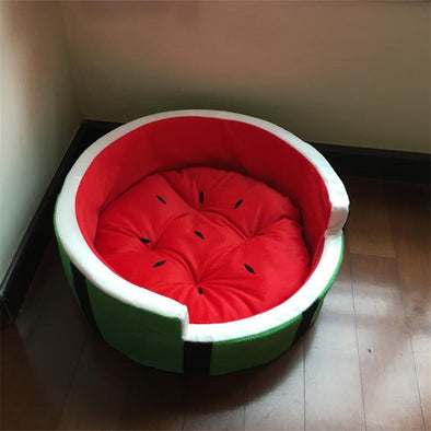 Cute Kennel House Warm Watermelon Modeling Dog Bed Mat Sofa Pet Cat Bed For Dogs Fruit Bed S M L
