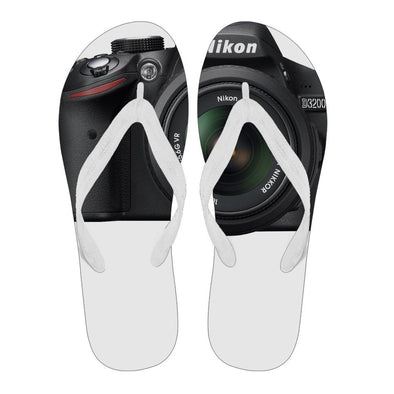 Flipflops - Womens Flip Flops Camera Nikkon White